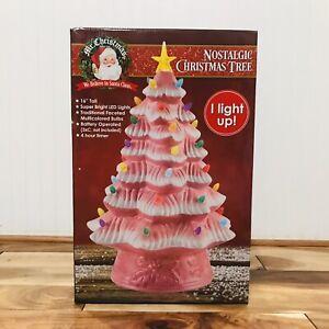 Mr-Christmas-16-LED-Retro-Nostalgic-Ceramic-Pink-Christmas-Tree-Light-Up-New