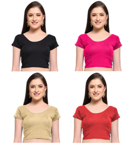 Women/'s Readymade Cotton Lycra Blouse Designer Stretchable Saree Freesize Blouse