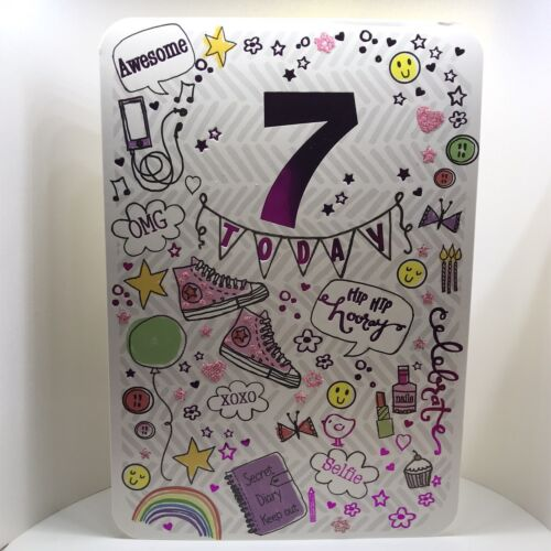 HAPPY 7TH BIRTHDAY CARD By Studio Collection GIRL AGE 7 Full colour inside