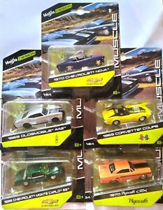 Maisto-Modele-Muscle-CHEVROLET-NOVA-courvette-COUPE-PLYMOUTH-echelle-1-64-DIE-CAST