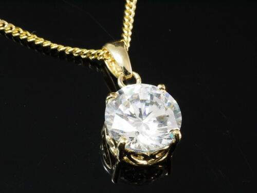 333 Gold Kette mit Design Anhänger mit weißem Zirkonia Stein