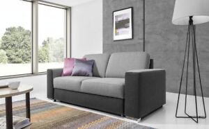 Sofa 2-Sitzer JUNES Webstoff Grau / Hellgrau 180x90x91 cm
