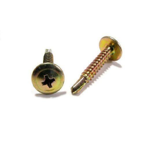 Button Self Drilling 8g-18 x 32mm Zinc Yellow Metal Phillip Screw Coarse 500Pcs