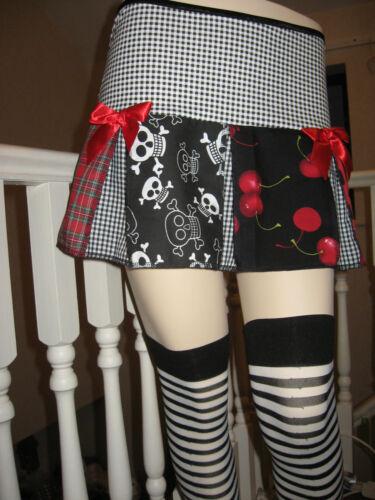 New Adult Black red white Skulls tartan cherries spotted pleated Skirt Plus size