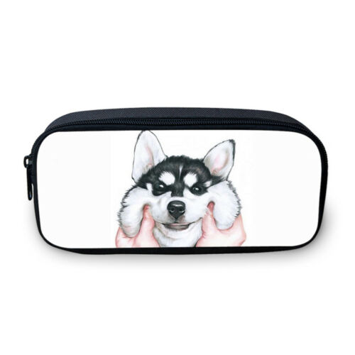 Funny Husky Print Student Backpack Thermal Lunch Bag Pen Pencil Case Wholesale