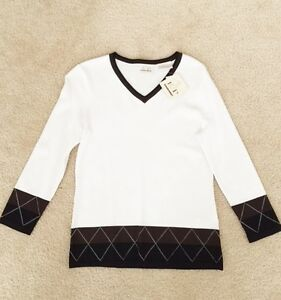 Women-039-s-EP-Pro-V-neck-Sweater-White-with-brown