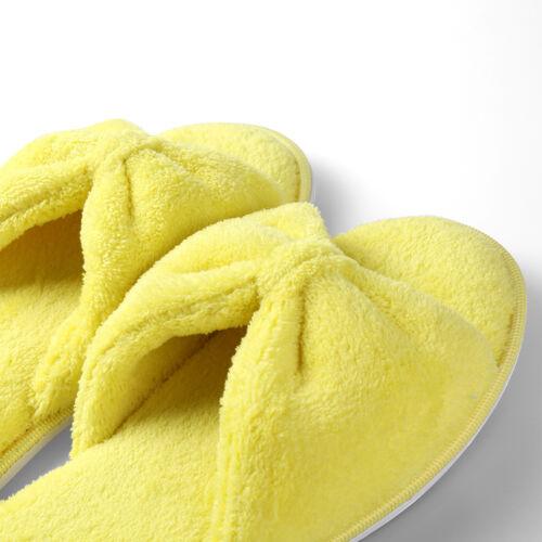 Aerusi Women Bowknot Fleece Cozy Anti-slip Slippers Indoor House Spa Flat Shoes