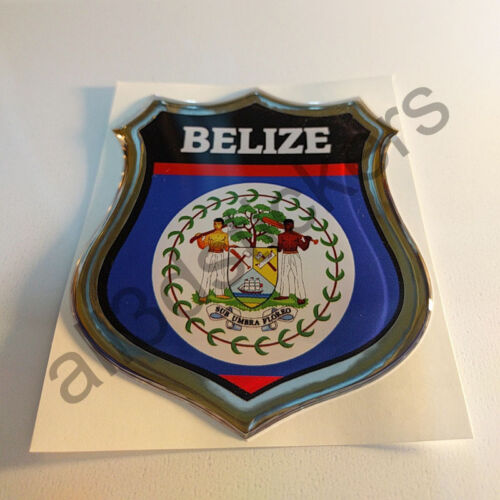 Sticker Belize Emblem 3D Resin Domed Gel Belize Flag Vinyl Decal Car Laptop