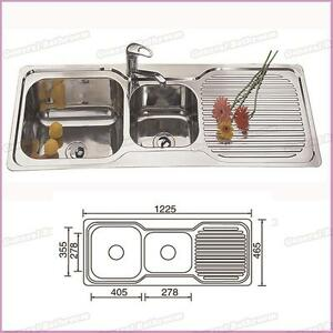 Details About Stainless Steel 1230mm Double Bowl Single Drainer Kitchen Sink