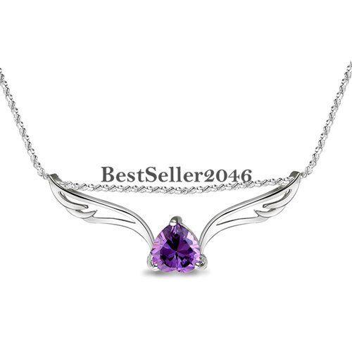 Silver Tone Angel Wing Heart Shape Purple CZ Women/'s Ladies Pendant Necklace
