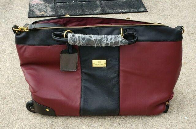 Joy Mangano Maroon LEATHER Zippered Wheeled Duffel Luggage Bag Color Block