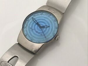 Time Design Zirconium Watch Silver Tone Blue Face Analog Unisex Wrist Watch