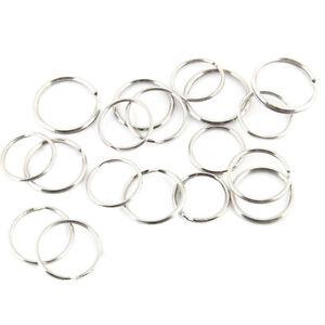20//100 Pcs Silver Steel Key Rings Chains Split Ring Hoop Metal Loop 25mm