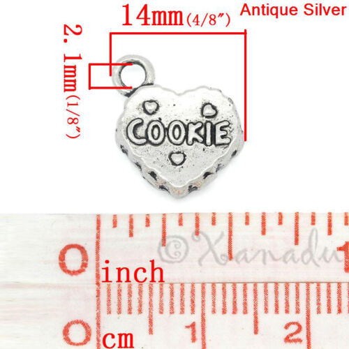 Cookie Heart 14mm Antiqued Silver Plated Charms C4782-10 20 Or 50PCs