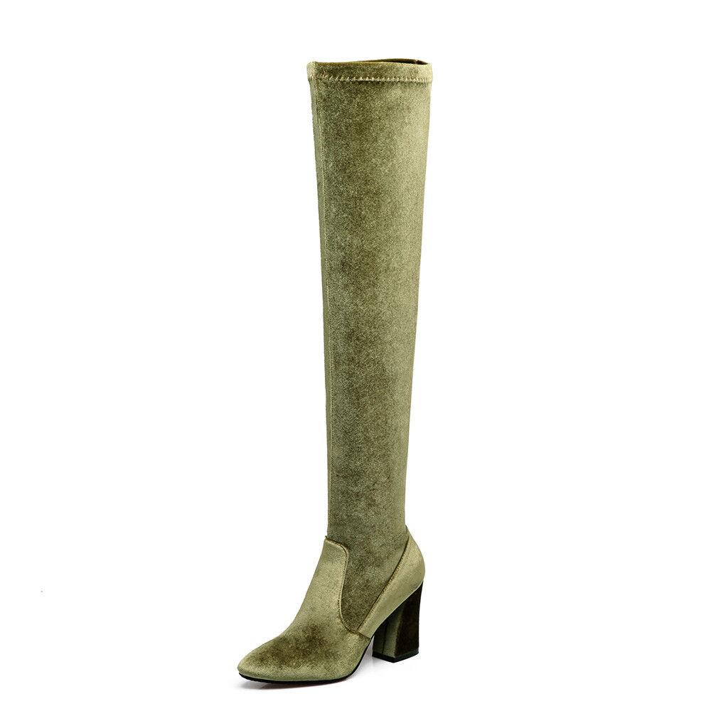 Femmes Femmes Femmes Talon Haut Faux Daim Zip au-dessus Du Genou Bottes Bout Pointu Chaussures Taille UK 55e38a