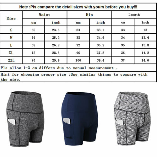 Women/'s High Waisted Yoga Shorts Tummy Control 4 Way Stretch with Side Pockets