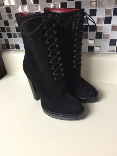Black Suede leather ankle boots high heels lug sol