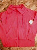 Juniors Op Red Jacket Plain Solid Zipper Casual Sweatshirt Material Small