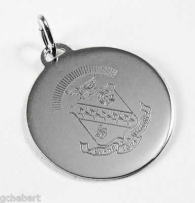 Sigma Kappa, ΣΚ, Engraved Crest Charm Pendant In Sterling Silver