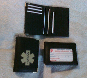 Street-Smart-bifold-black-vinyl-Medical-Wallet-w-photo-ID-holder-amp-med-symbol