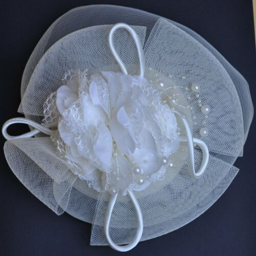 Fascinator Hochzeit Haarschmuck Perlen Schleier IVORY Blume Creme Elfenbein