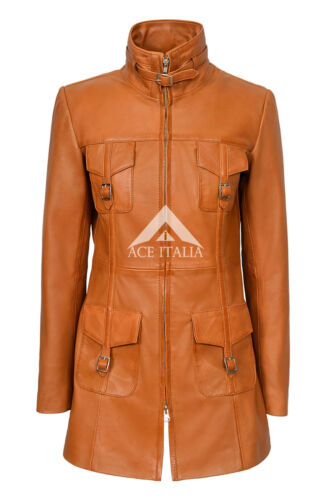 'MISTRESS' Ladies Tan Gothic Style Fitted Real Lambskin Leather Jacket Coat