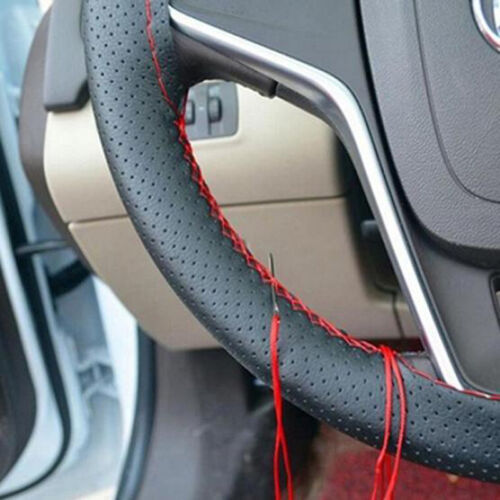Three Colors Steering Wheel Cover  Faux Leather Soft Car Needles Thread Softer