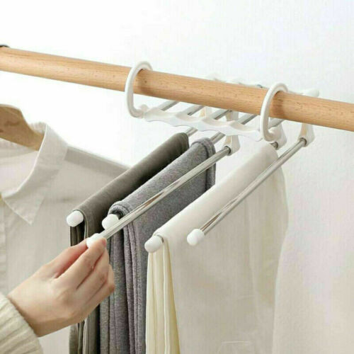 Multi-function Pants Hanger 5 Tier Stainless Steel Pants Rack Trousers Organizer