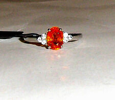 10K White Gold Orange Spessartite Garnet Oval & W Zircon Ring, Size 6, 1.49(TCW)