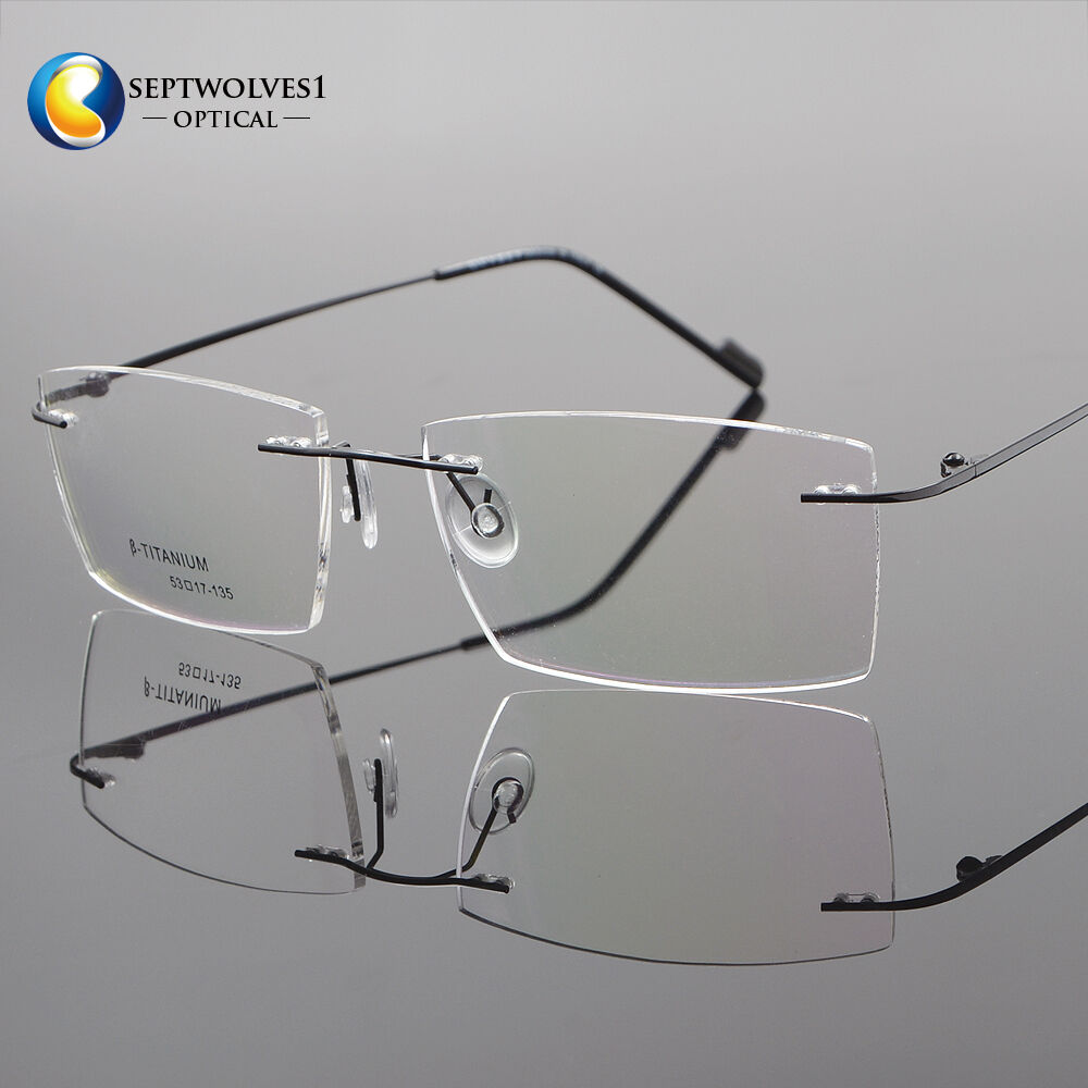 66130c2ac9b Men s β-Titanium Rimless Reading Glasses UV400 Coating Lens Reader +0.00  ~+5.00