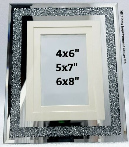 Picture Photo frame Sparkly Diamond Crush Silver Mirrored 4x6 or 5x7 or 6x8 Inch