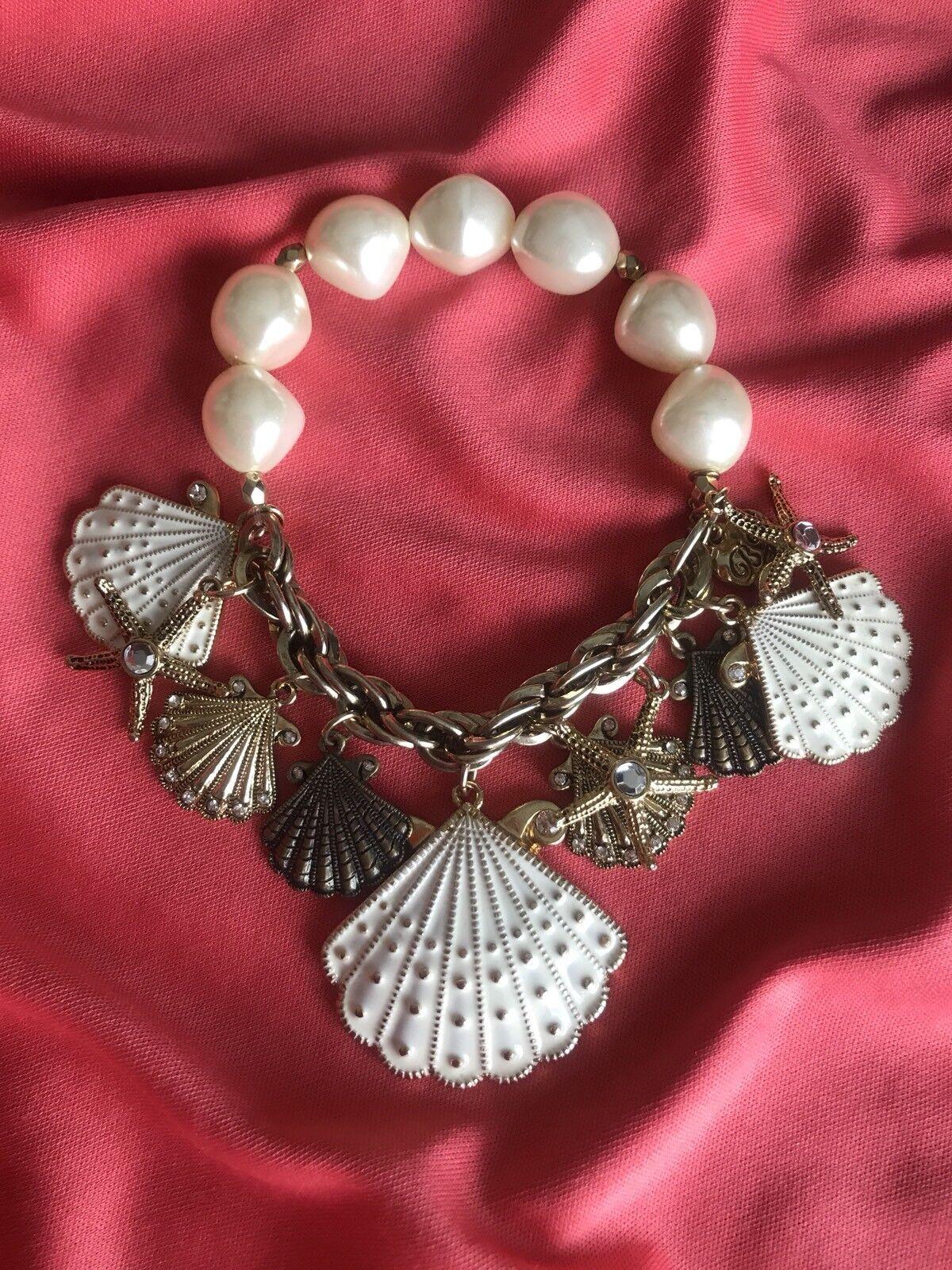 Betsey Johnson Vintage Nautical White Pearl Scallop Shell gold Starfish Bracelet