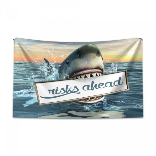 Hai Wandteppich und Tagesdecke Nautical Fauna Element Druck
