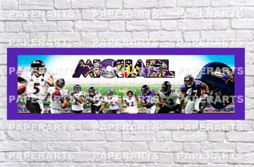 Personalized Baltimore Ravens Name Poster with Border Mat Wall Painting Banner