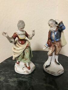 Pair Made In Occupied Japan Porcelain Figurines Victorian Man Woman 6 Ebay
