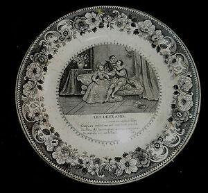 Louis-Lebeuf-Montereau-Assiette-en-faience-fine-034-les-deux-amies-034-XIXe-s