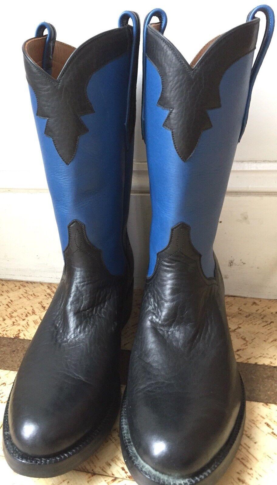 JB Hill Stiefel Texas schwarz Bison Blau Calfskin Cowboy Western Western Western Stiefel 9D Roper 3aa13d
