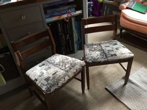 Pair of G Plan chairs covered in GP & J Baker fabric
