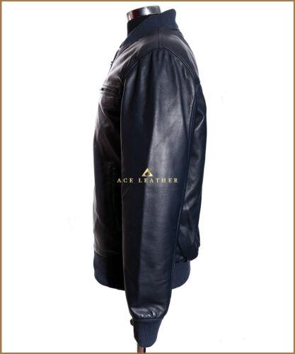 Années 70 homme Veste CUIR Blouson CUIR Bleu Marine Baseball Style Véritable Napa Veste en cuir