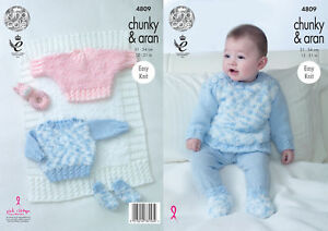 05afbe490136 King Cole Baby Knitting Pattern Easy Knit Sweater Cape Top Blanket ...