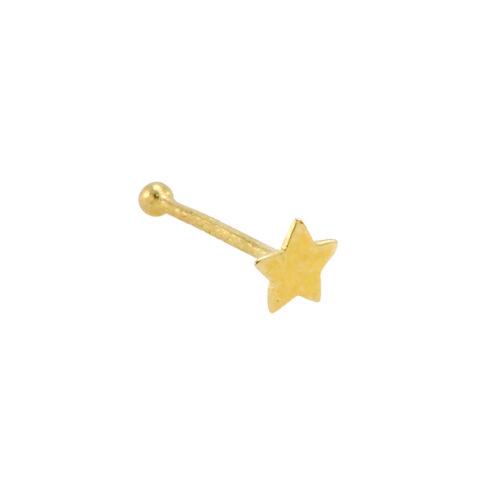 14k Yellow Gold Star Nose Stud 20g