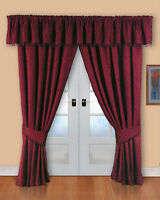 Barcelona Fully Lined Luxury Jacquard Curtain Burgandy