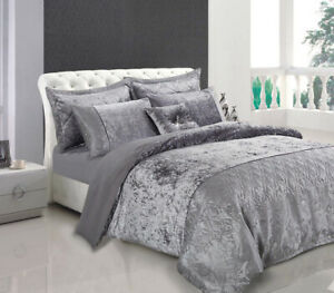 Silver-Grey-Bedding-Set-Duvet-Cover-W-Pillowcases-Double-Size-Quilt-Cover-Sant