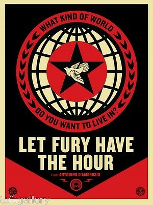 Sought-after! 2013 SHEPARD FAIREY Obey LET FURY HAVE THE HOUR FILM PRINT Punk