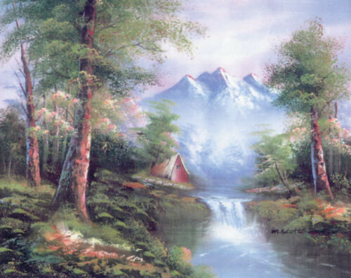 1x Printed Tapestry Thread Canvas Mountain Cascades Sewing Craft Tool Hobby UK