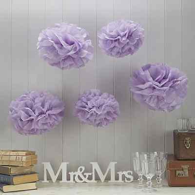 Pom Poms 5 Stück Flieder - Papier Blume Dekoration für Geburtstag Hochzeit Taufe