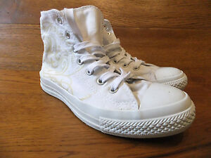 b615a3ef44e3f0 Converse CT All Star Mono White Patterned Canvas Hi Top Trainers ...