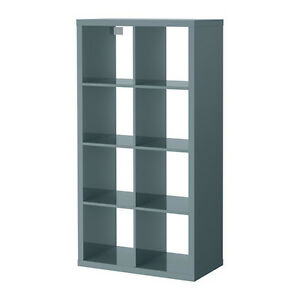 Ikea Kallax 2 x 4 Shelf Unit High Gloss Gray-Turquoise 603.244.93