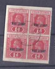 VIRGIN ILDS, 1917 WAR TAX, 1d SG 78c FINE USED BLK 4 ON PIECE, CAT £17
