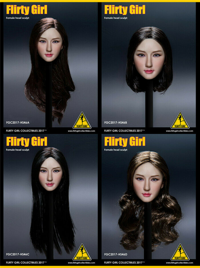 1 6 Flirty Girl Collectibles HS46 Asian Beauty Girl Head Carving Fit 12'' Figure